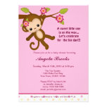 Miss Monkey Baby Shower Invitations Girl