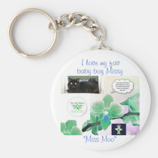 Miss Moo Basic Round Button Key Ring