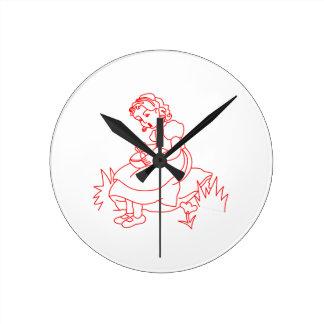Miss Muffet Redwork Round Clock