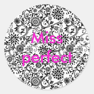 miss perfect round sticker