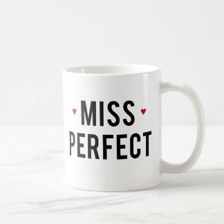 Miss Perfect text design with red hearts Coffee Mug