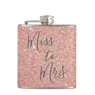 Miss to Mrs Bridal Shower Party Rose Gold Glitter Hip Flask