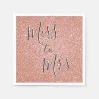 Miss to Mrs Bridal Shower Party Rose Gold Sparkle Disposable Serviette