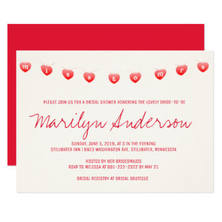 Miss To Mrs Bunting Banner Bridal Shower Invite