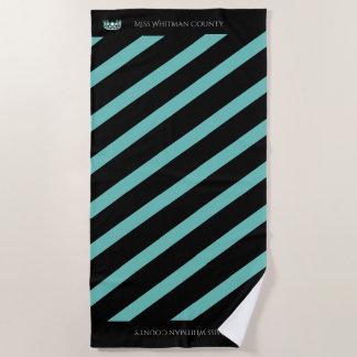 Miss USA Aqua Stripe Teal Crown Beach Towel