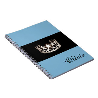 Miss USA Baby Blue Crown Notebook- Custom Name Notebook