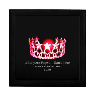 Miss USA Cherry Red Crown Awards Jewelry Box