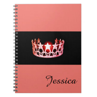 Miss USA Coral Crown Notebook- Custom Name Notebooks
