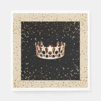 Miss USA Gold Crown Gold Stars Paper Napkin