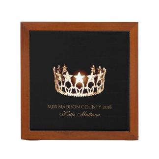 Miss USA Gold Crown Wood Desk Organizer-Title Desk Organiser