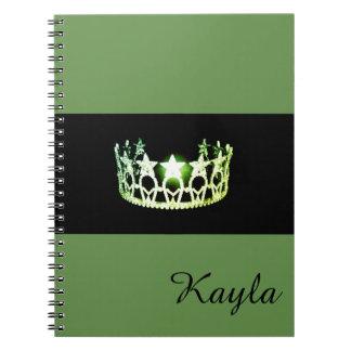 Miss USA Green Crown Notebook- Custom Name Notebook