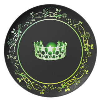 Miss USA Green Crown Plate with Floral Border