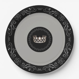 "Miss USA Grey Silver Crown 9"" Paper Plates"