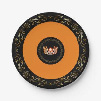 "Miss USA Orange Crown 7"" Paper Plates"