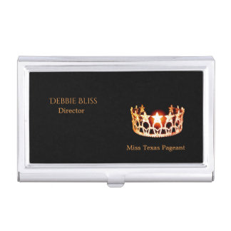 Miss USA Orange Crown Business Card Holder