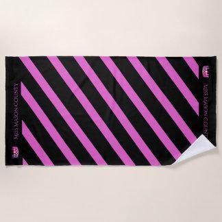 Miss USA Raspberry Stripe Pink Crown Beach Towel
