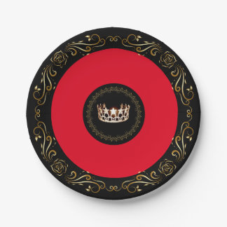 "Miss USA Red Gold Crown 7"" Paper Plates"