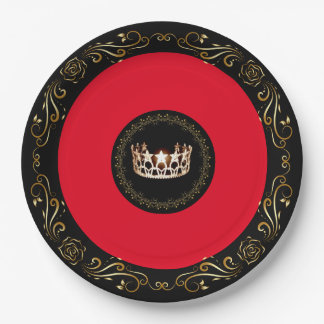"Miss USA Red Gold Crown 9"" Paper Plates"