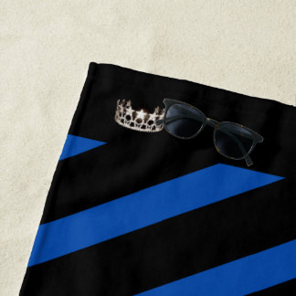 Miss USA Royal Blue Stripe Crown Beach Towel