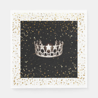 Miss USA Silver Crown Gold Stars Paper Napkin