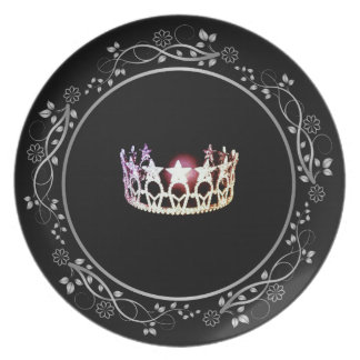 Miss USA Silver Crown Plate with Floral Border