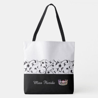 Miss USA Silver Crown Tote Bag-BLK Scroll