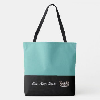 Miss USA Silver Crown Tote Bag-Large Aqua