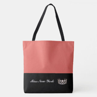 Miss USA Silver Crown Tote Bag-Large Salmon