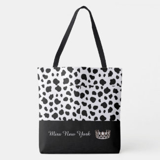 Miss USA Silver Crown Tote Bag-Large Spotted