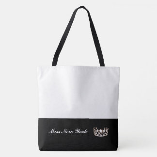 Miss USA Silver Crown Tote Bag-Large White
