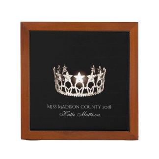 Miss USA SLVR Crown Wood Desk Organizer-Title Desk Organiser
