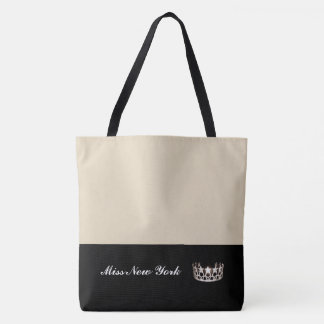 Miss USA State Silver Crown Tote Bag-Large Beige