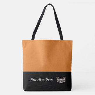 Miss USA State Silver Crown Tote Bag-Large Orange
