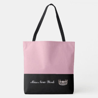 Miss USA State Silver Crown Tote Bag-Large Pink