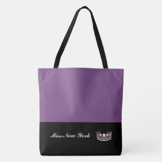Miss USA State Silver Crown Tote Bag-Large Purple