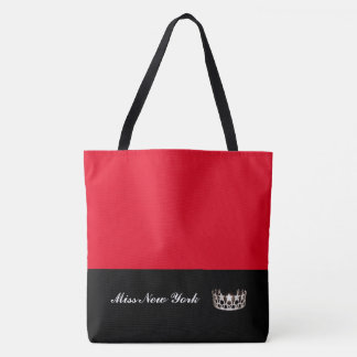 Miss USA State Silver Crown Tote Bag-Large Red