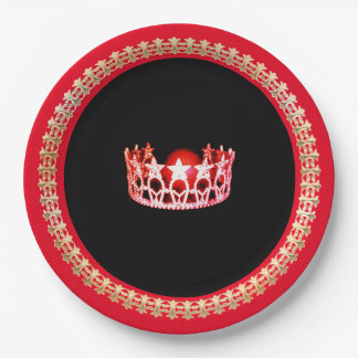 "Miss USA style Bright Red 9"" Paper Plates"