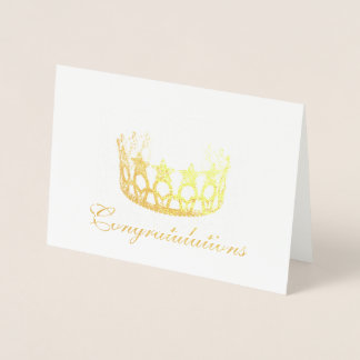Miss USA Style Gold Foil Star Crown Card-Congrats Foil Card