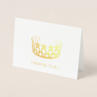 Miss USA Style Gold Foil Star Crown Thank You Card