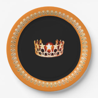 "Miss USA style Orange 9"" Paper Plates"