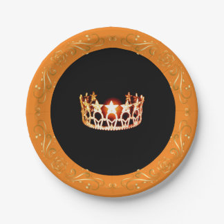 "Miss USA style Orange Crown 7"" Paper Plates"