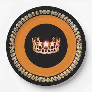 "Miss USA style Orange Crown 9"" Paper Plates"