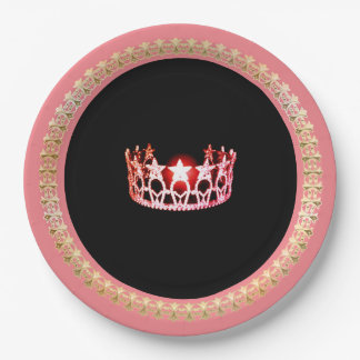 "Miss USA style Pink-Coral 9"" Paper Plates"