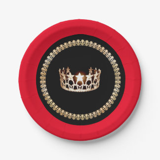 "Miss USA style Red 7"" Paper Plates"