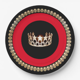 "Miss USA style Red 9"" Paper Plates"