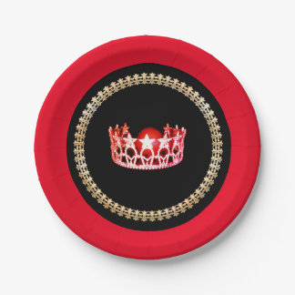 "Miss USA style Red-Coral 7"" Paper Plates"