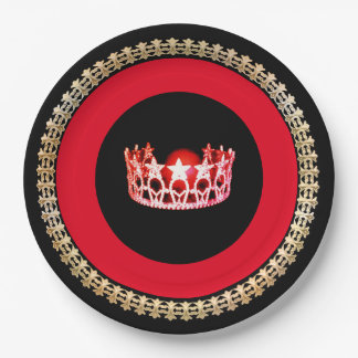 "Miss USA style Red-Coral 9"" Paper Plates"