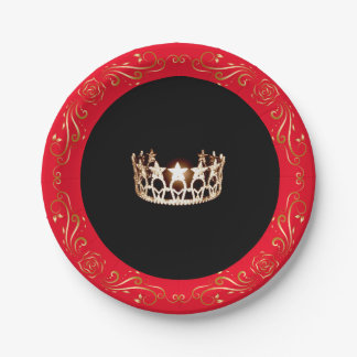 """Miss USA style Red Gold Crown 7"""" Paper Plates"""