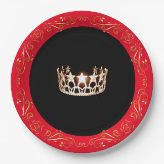 "Miss USA style Red Gold Crown 9"" Paper Plates"