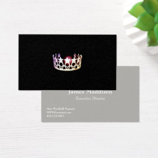 Miss USA style Silver Crown Business Cards
